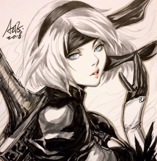 Nier Automata tops 3 million sales-the splintering-artgerm lau sketch 4
