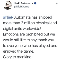 Nier Automata tops 3 million sales-the splintering-twitter