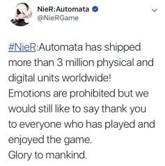 Nier Automata tops 3 million sales-the splintering-twitter