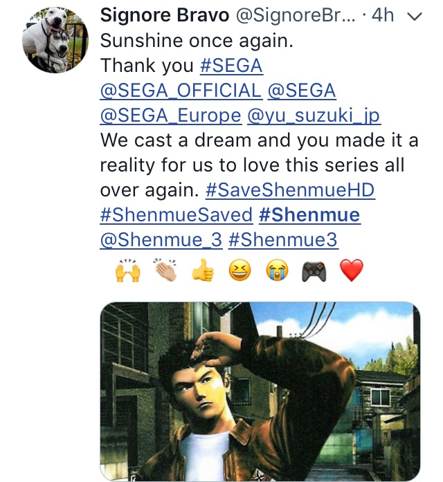 Shenmue saved-the splintering-SEGA-twitter 1