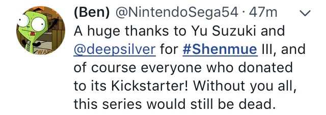 Shenmue saved-the splintering-SEGA-twitter 3