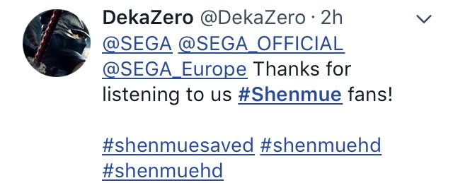 Shenmue saved-the splintering-SEGA-twitter 7