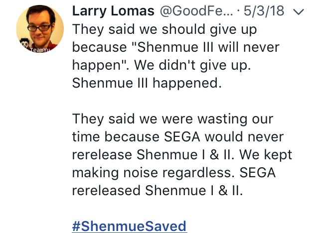 Shenmue saved-the splintering-SEGA-twitter 8