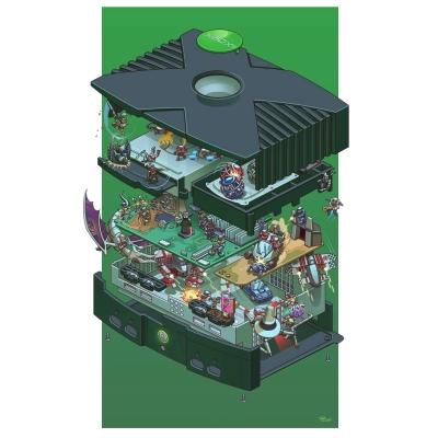 exploded-micorosoft-xbox-retro-console-poster