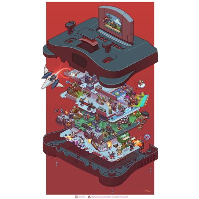 exploded-nintendo-64-retro-console-poster