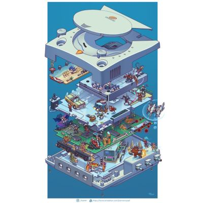 exploded-sega-dreamcast-retro-console-poster