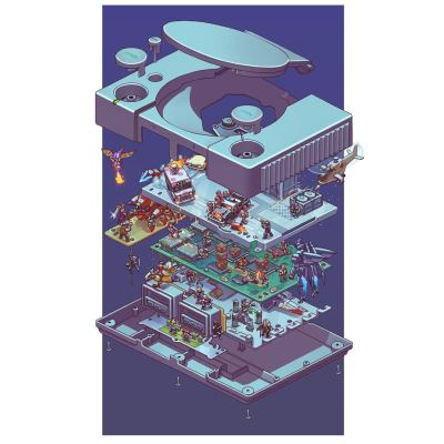 exploded-sony-playstation-retro-console-poster